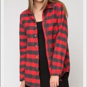 Brandy Melville Red Plaid Top - One Size OS
